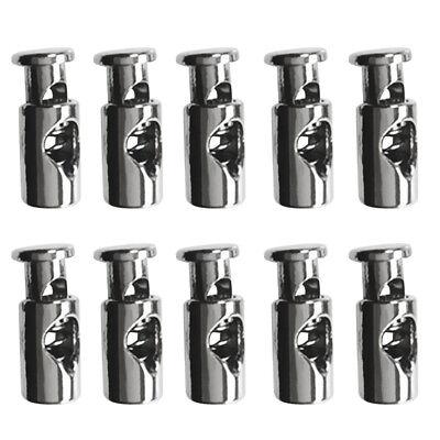 6Pcs Gray Alloy Metal Cylinder Barrel Cord Lock 1 Hole Toggles Cordlock Stop