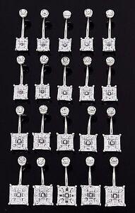 1-Single-Square-Cut-Fancy-Belly-Ring-14g-3-8-034-Gem-Elegant-Gemstone-CZ-Navel-792