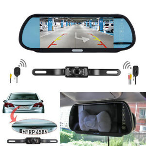 7 lcd mirror monitor wireless car reverse rear view backup camera night vision 647375576329 ebay. Black Bedroom Furniture Sets. Home Design Ideas