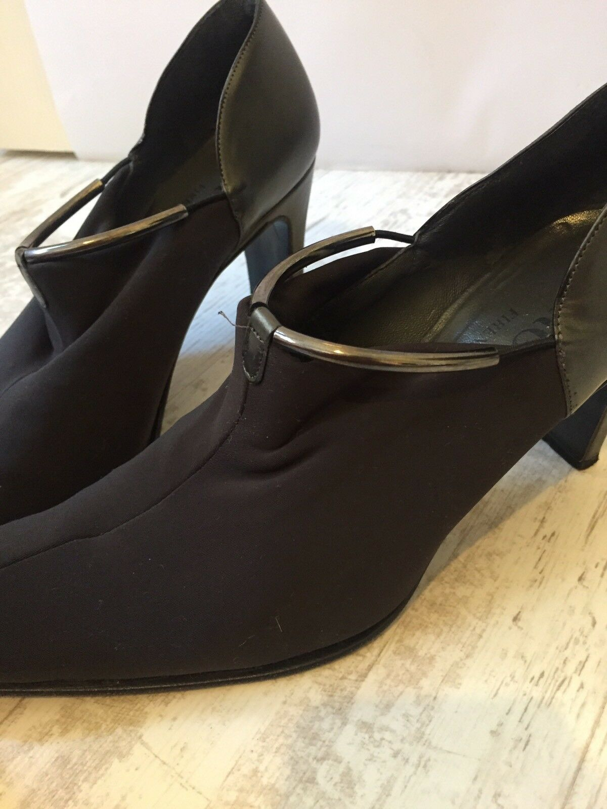 RODO Firenze Soft Front Black &Silver Bar Leather High Heel Court Shoes Size 37