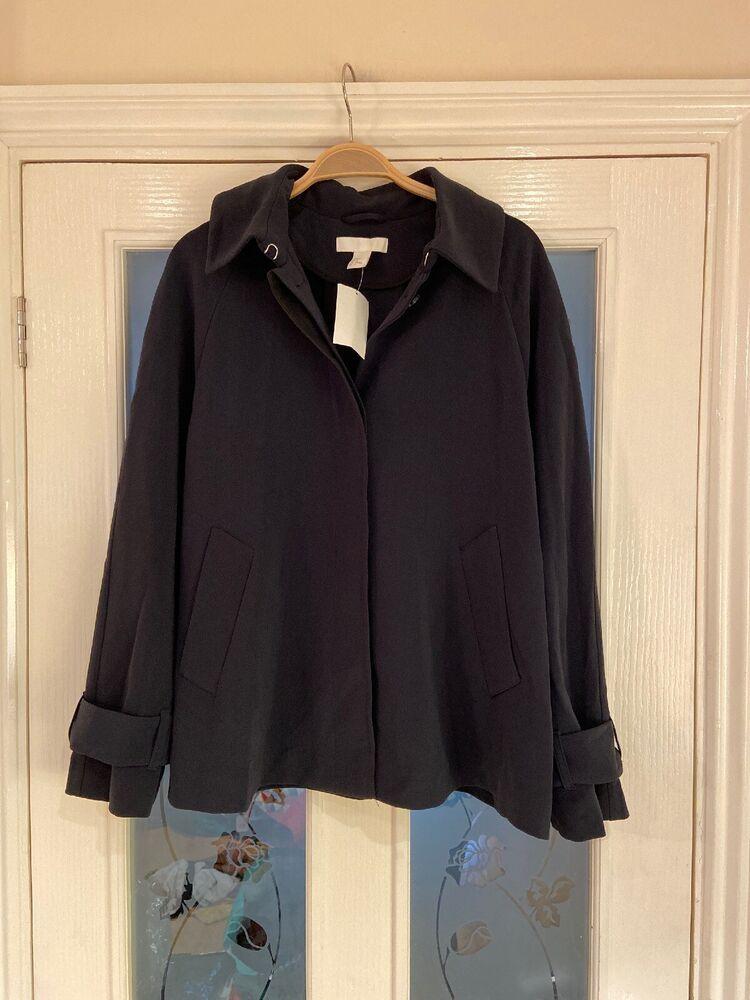Vêtements Femme Taille 14 H&m Bleu Marine Léger Veste Top Neuf (267)