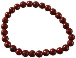 Bracelet Perles Rondes Jaspe Rouge - 6 mm