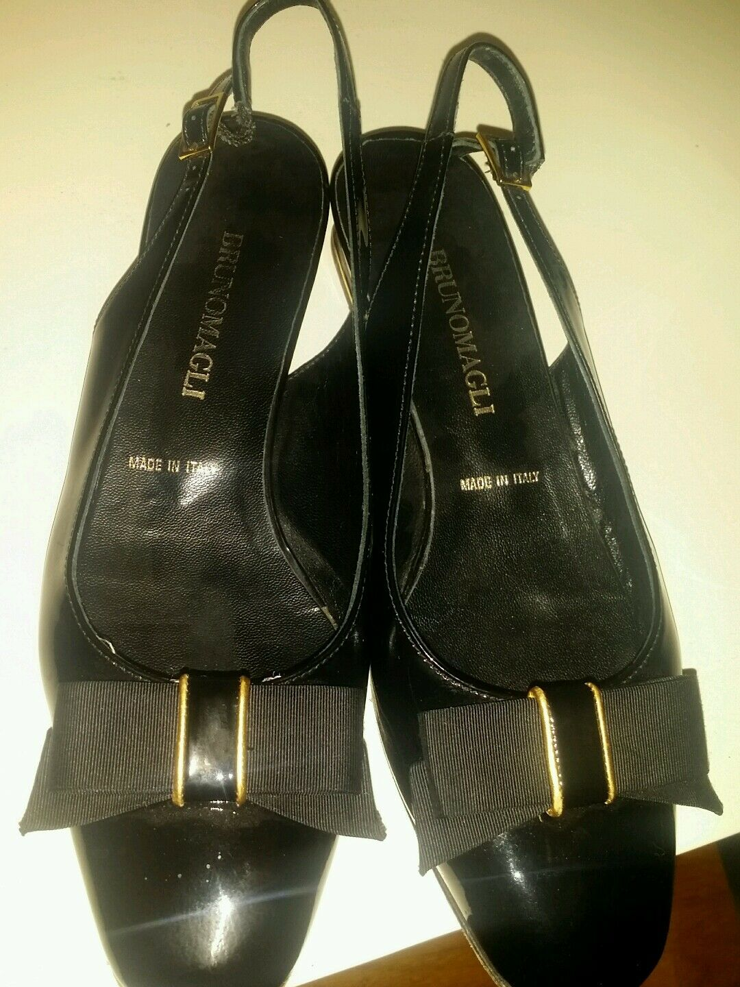 450  BRUNO MAGLI 8.5  Patent Leather Ballet Flats shoes ITALY