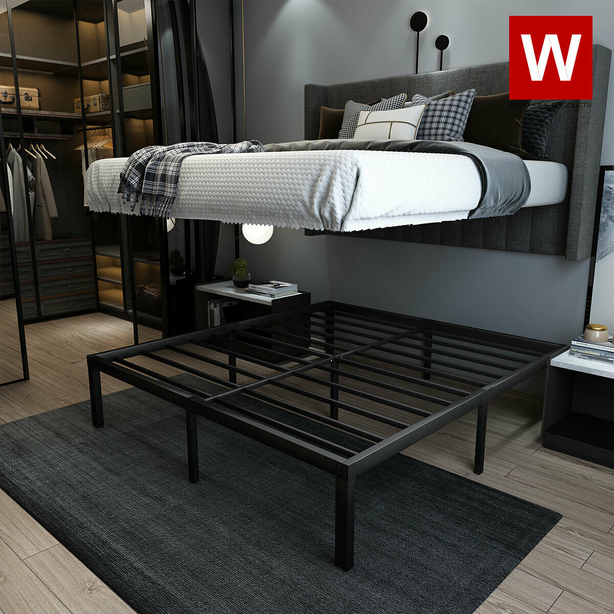 King Bed Frame Platform 14 Heavy Duty Slat Black Steel Bedroom Furniture For Sale Online Ebay