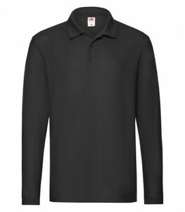 Details about Fruit of the Loom Polo Shirt Twin Pack Plain Long Sleeve T-Shirt Mens Casual