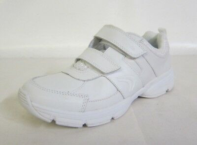 Clarks Girls Shoes FLUENCY JET JNR White Leather Sport Trainers UK 12