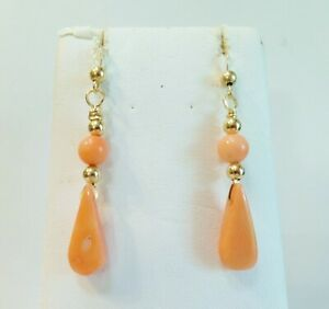 Beautiful-Soft-Salmon-Color-in-Genuine-Coral-Earrings-with-14K-YGF-Hooks