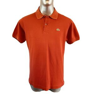 Lacoste-Chemise-Devanlay-Polo-T-Shirt-Mens-Size-4-M-Medium-Deep-Red-Cotton-Top