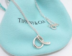 c7dafba74df86 Details about Tiffany & Co Elsa Peretti Sterling Silver Initial Letter A  Pendant Necklace