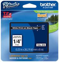 Brother 1/4 (6mm) White On Black P-touch Tape For Pt2700, Pt-2700 Label Maker