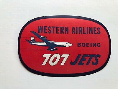 Vintage WESTERN AIRLINES Boeing 707 Jets Suitcase Luggage Labels Authentic NOS