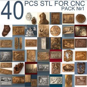 40 pcs set #1 3d stl models  for CNC Router Artcam Aspire
