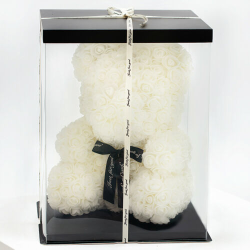 Weihnachtsgeschenk Rose Bear Flower Valentinstag Party Love Teddy 40cm Box Weiß