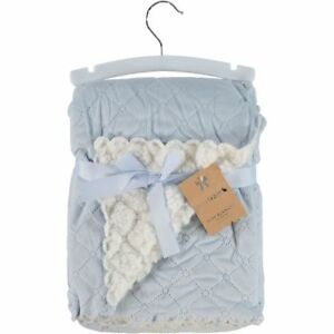 9fc0eb3f84feb Details about MON LAPIN - Luxurious Blue Plush Reversible Baby Blanket - New