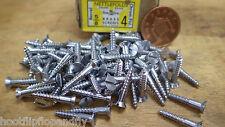 "25 x NETTLEFOLDS 5/8"" x 4 CHROME ON BRASS COUNTERSUNK SLOTTED WOODSCREW screws"