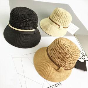 30662b3936da4 Womens Ladies Straw Beach Sun Summer Hat Stylish Wide Brim Sun Hat Y38