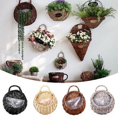 Wall Fence Hanging Plant Planter Flower Pot Handmade Rattan Basket Home Garden