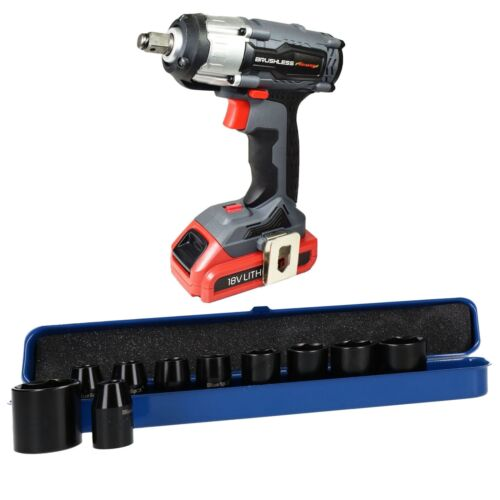 18v 1/2 Drive Li-on Cordless Battery Impact Gun & 10 Shallow Impact Sockets