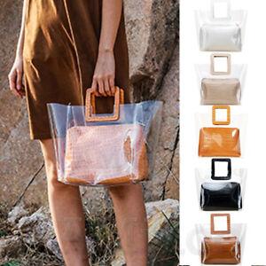 Le-donne-Tote-Bag-Trasparente-in-PVC-chiaro-Jelly-Pochette-Borsetta-di-Avocado-borsa-casual