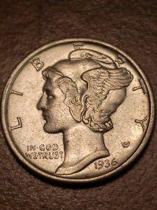 1936 P Silver Mercury Dime BU