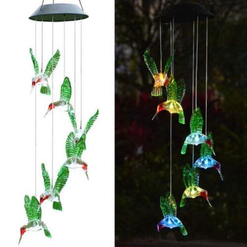 Solar Powered Hummingbird Wind Chime Color-Changing LED Light Yard Garden Decor