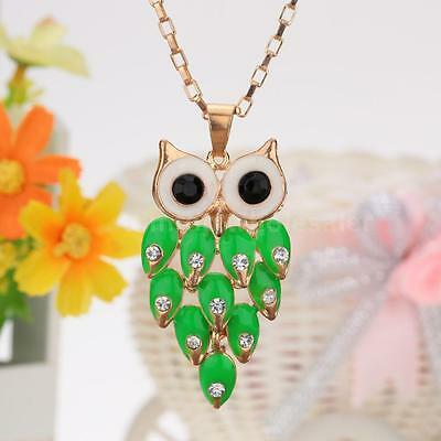 Cute Crystal Rhinestone Green Feather Owl Pendant Chain Sweater Necklace 2QD4