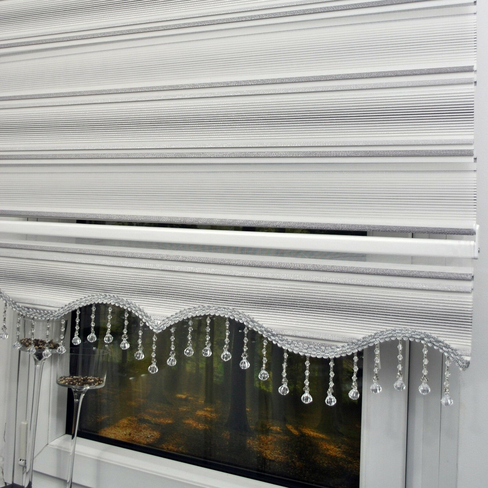Doppelrollos White Silver Duo Roller Blind Window Zebra Perde Clamp Fix Wall Top