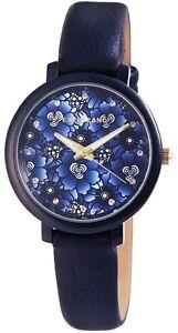 Damenuhr-Blau-Blumen-Analog-Metall-Leder-Modisch-Armbanduhr-D-195093000235500