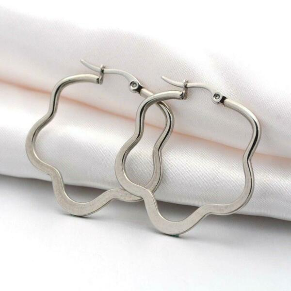 8d7d26dbd05b1 Surgical Stainless Steel 44mm Sleek Flower Hoop Earrings Avant Garde ...