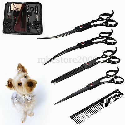 """7"""" Pro Pet Scissors Dog Cat Cutting Curved Thinning Kit w/ Comb Grooming Searing"""