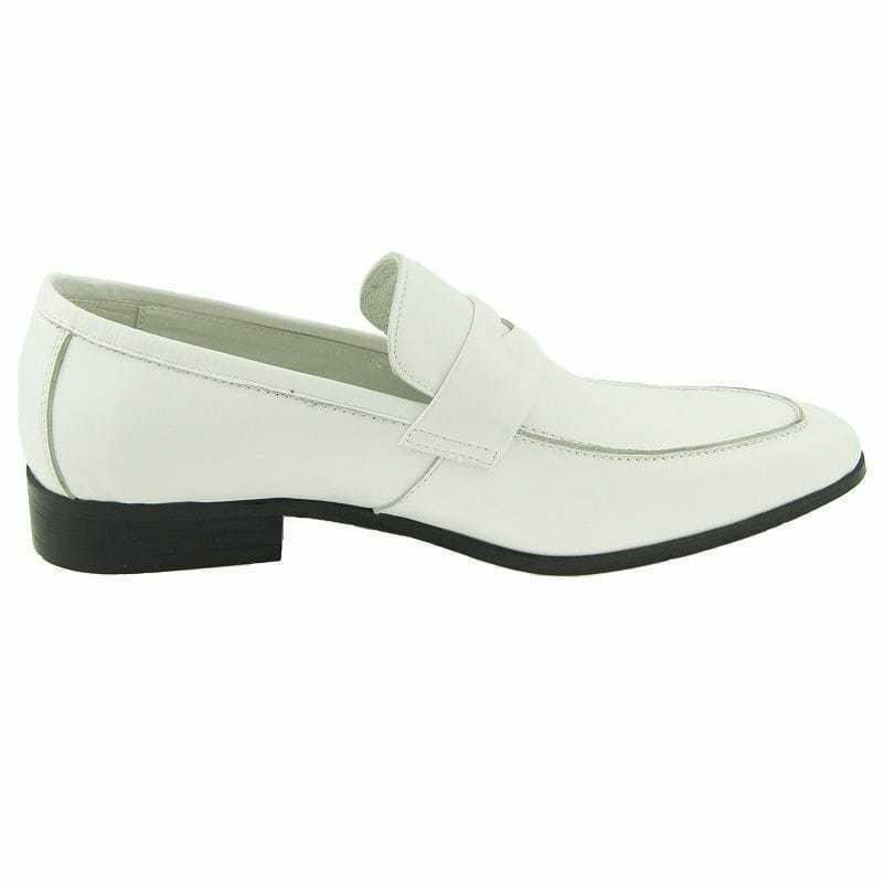 Men's Handmade Genuine bianca Leather Loafers & Slip On Moccasin Formal scarpe