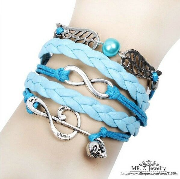 NEW Pearl Infinity Skull Note  Wing  Leather  Charm Bracelet plated Silver DIY