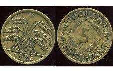 ALLEMAGNE 5  reichspfennig  1925 G  ( bis )