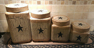 Primitive Crackle Painted Tan & Black Star Glass Canisters Set of 4