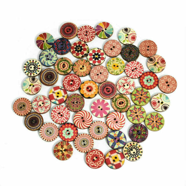 New 50Pcs Flower Picture Wood Button 2 Holes Apparel Sewing DIY Gift Mixed Color