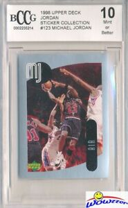 1998 Upper Deck #123 Michael Jordan Sticker BECKETT 10 MINT Bulls HOF