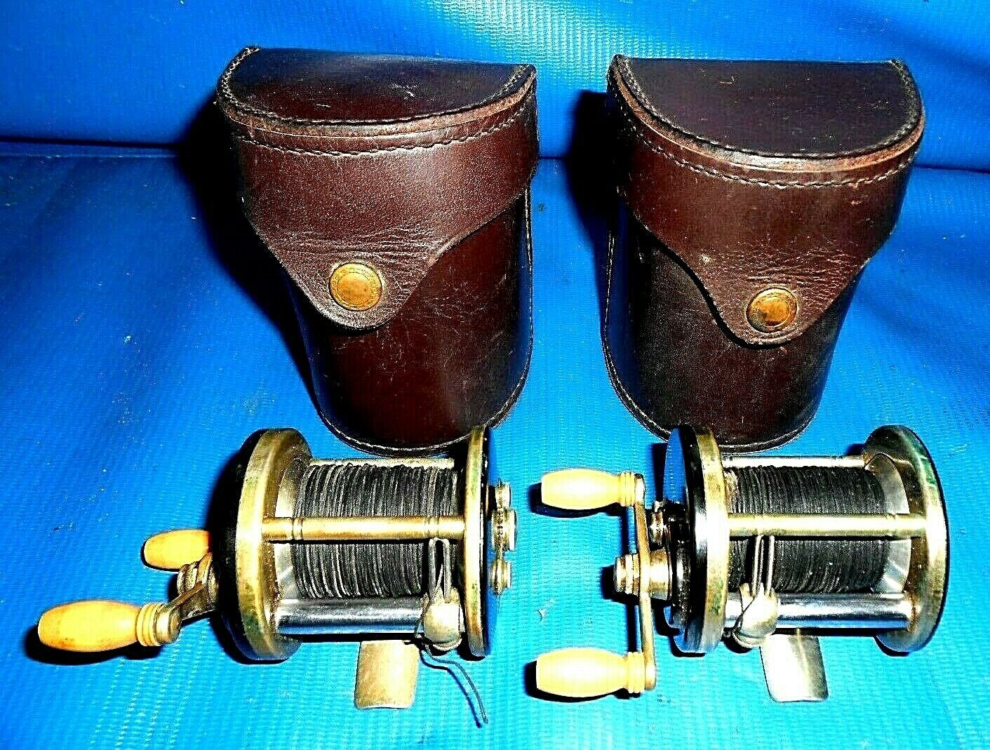 2 Old J.A. Coxe Casting Reels &1941 w  leather Cases  GREAT CONDITION