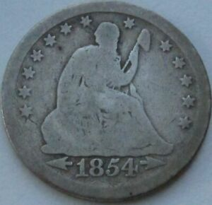 1854-Seated-Liberty-Silver-Quarter-in-a-SAFLIP-Good