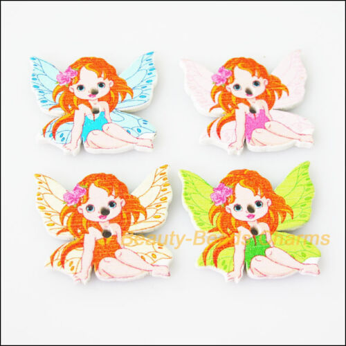 10Pcs Mixed Wooden Flying Angel Buttons Fit Scrapbooking Sewing 25.5x30mm