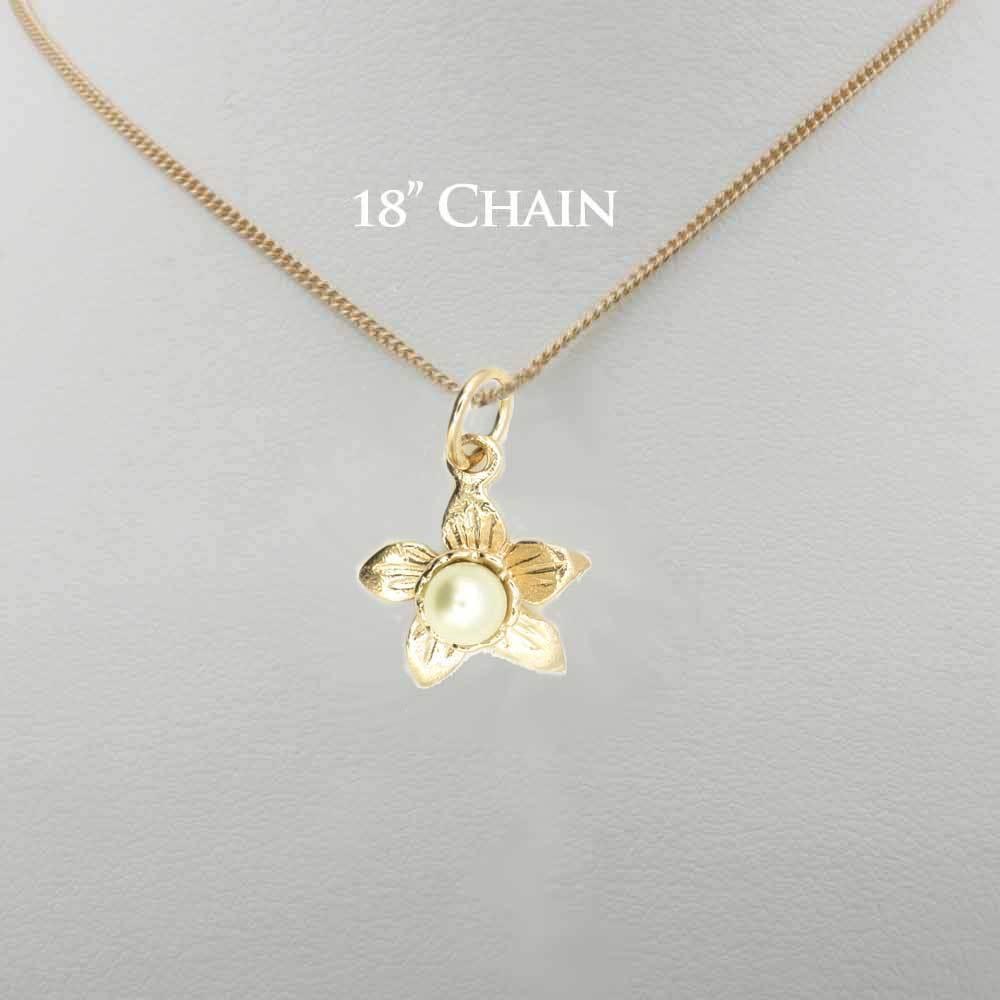 9 carati oro rosa Design Gallese Daffodil ciondolo ciondolo ciondolo con Pearl (opzionale catena d'oro) 446c2a