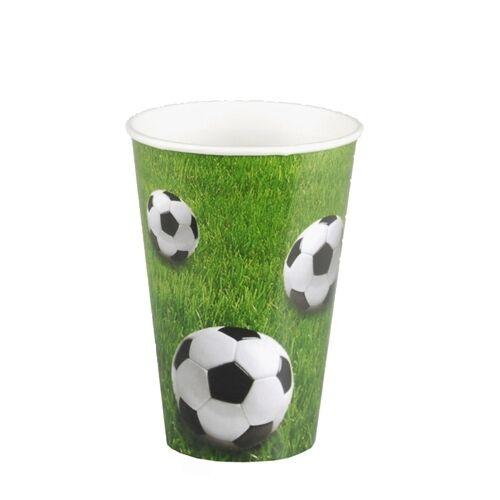 140 Pappbecher 0,2 l Ø 7 cm 9,7 cm Football Trinkbecher Fussball WM