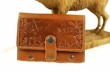 Leather Shell Cartridge Holder, pouch for belt, ammunition, hunting, embossed M2