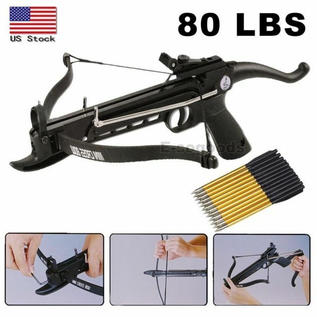 80lbs Aluminum Body Self Cocking Pistol Crossbow With 27 Arrow Extra String