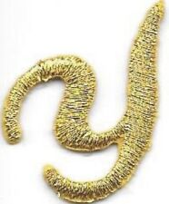 "1 1/8"" Fancy Metallic Gold Script Cursive Alphabet Letter Y Embroidered Patch"
