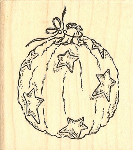 Halloween STAR PUMPKIN Wood Mounted Rubber Stamp Impression Obsession C6929 NEW