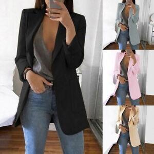 Femmes-Revers-Blazer-Manteaux-Formelle-Bureau-Costume-Cardigan-Casual-Mode