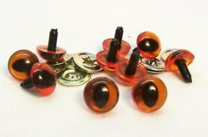 Sassy Bears 12mm CLEAR Safety CAT Eyes for bears dolls and crafts 10pairs