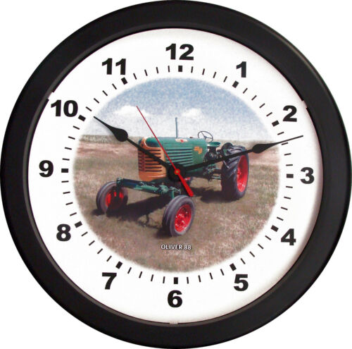 """New OLIVER Model 88 Tractor Wall Clock 14/"""" Round Restored Vintage Farmer Tractor"""