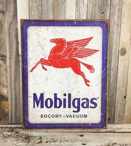 Pegasus Mobil Lubrication Tin Metal Sign Oil Socony-Vacuum Company Gas