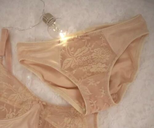 Vintage House of Satin Front Lace Panel Knickers Size 14 Nude